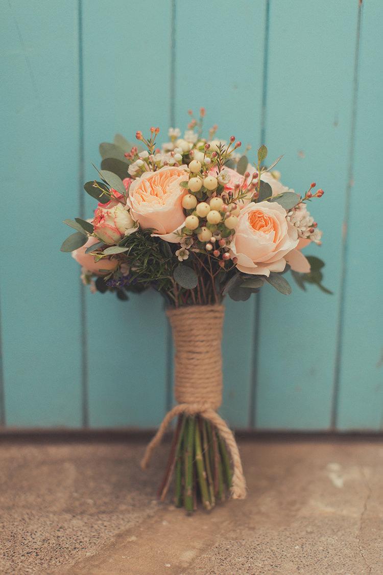 Bouquet Flowers Bride Bridal Peach Roses Whimsical Countryside Yurt Wedding http://jamesgreenphotographer.co.uk/