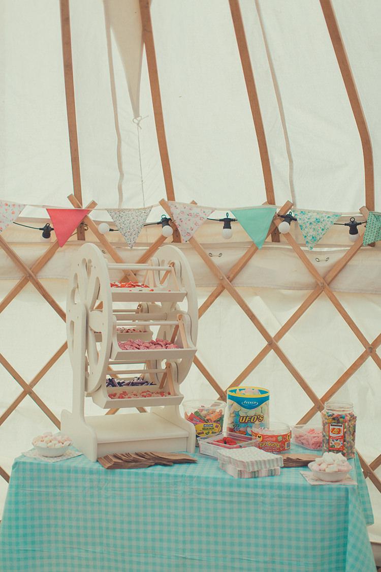 Sweets Sweetie Table Whimsical Countryside Yurt Wedding http://jamesgreenphotographer.co.uk/