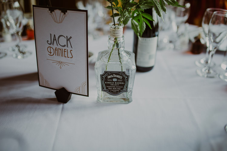 Table Name Bottle DIY Art Deco Jack Daniels 1920s Speakeasy Country House Glamour Wedding https://www.bearscollective.com/