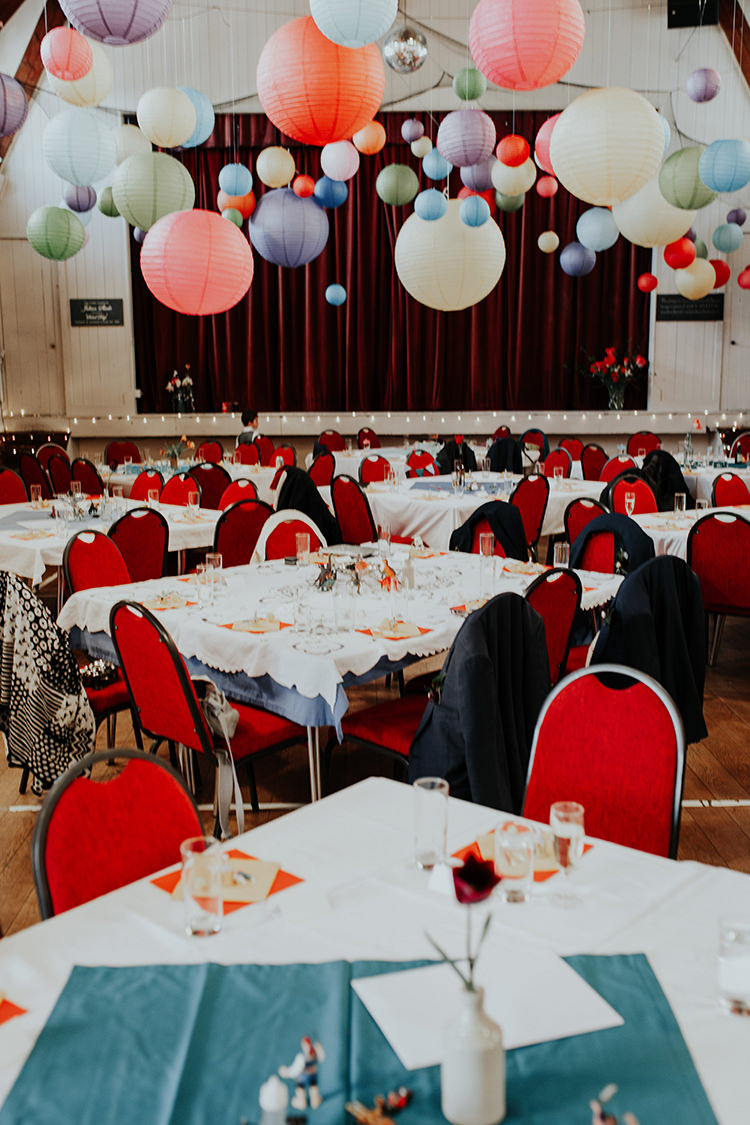 Hall Multicolour Lanterns Decor All The Colours Quirky Dinosaur Wedding https://leahlombardi.com/