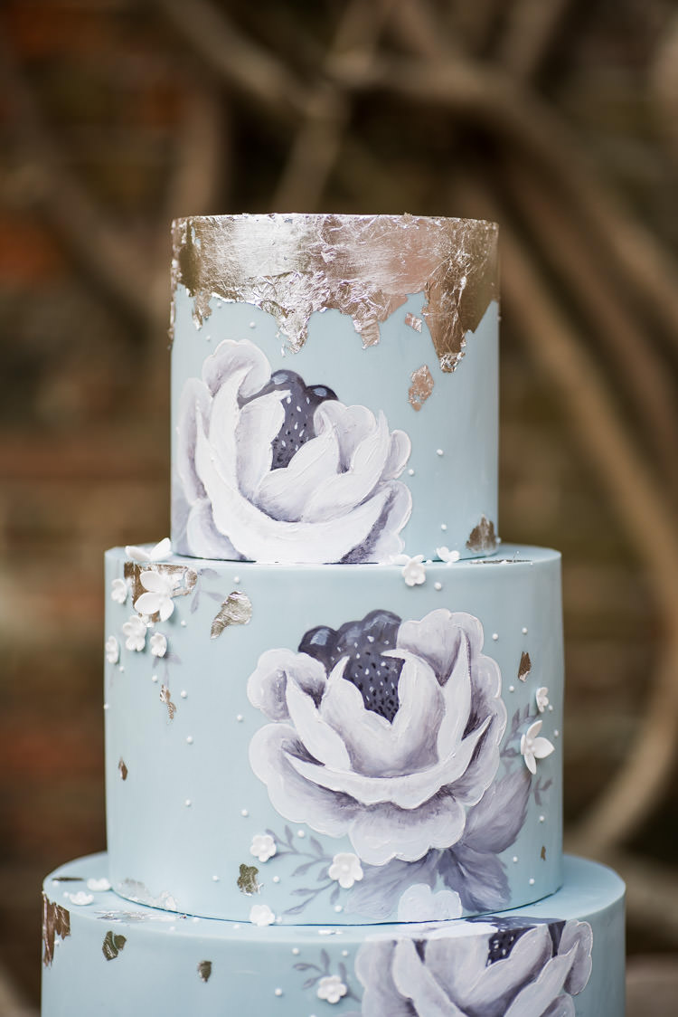 Floral Cake Pale Blue Silver Metallic Painted First Look Wedding Ideas Country Estate Garden http://annamorganphotography.co.uk/