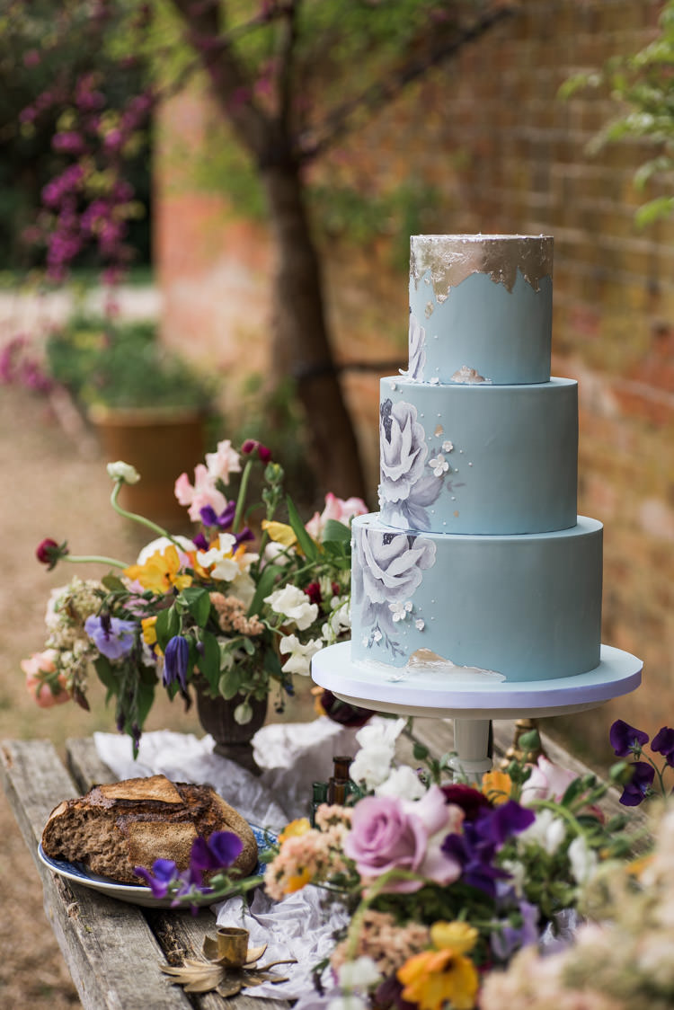 Floral Cake Pale Blue Silver Metallic First Look Wedding Ideas Country Estate Garden http://annamorganphotography.co.uk/