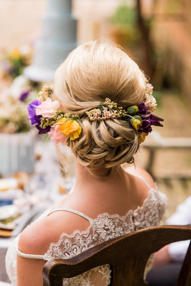 Hair Bride Bridal Style Up Do Flowers Rustic First Look Wedding Ideas Country Estate Garden http://annamorganphotography.co.uk/