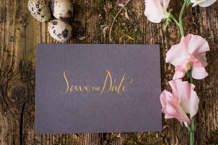 Gold Grey Calligraphy Stationery Save The Date First Look Wedding Ideas Country Estate Garden http://annamorganphotography.co.uk/