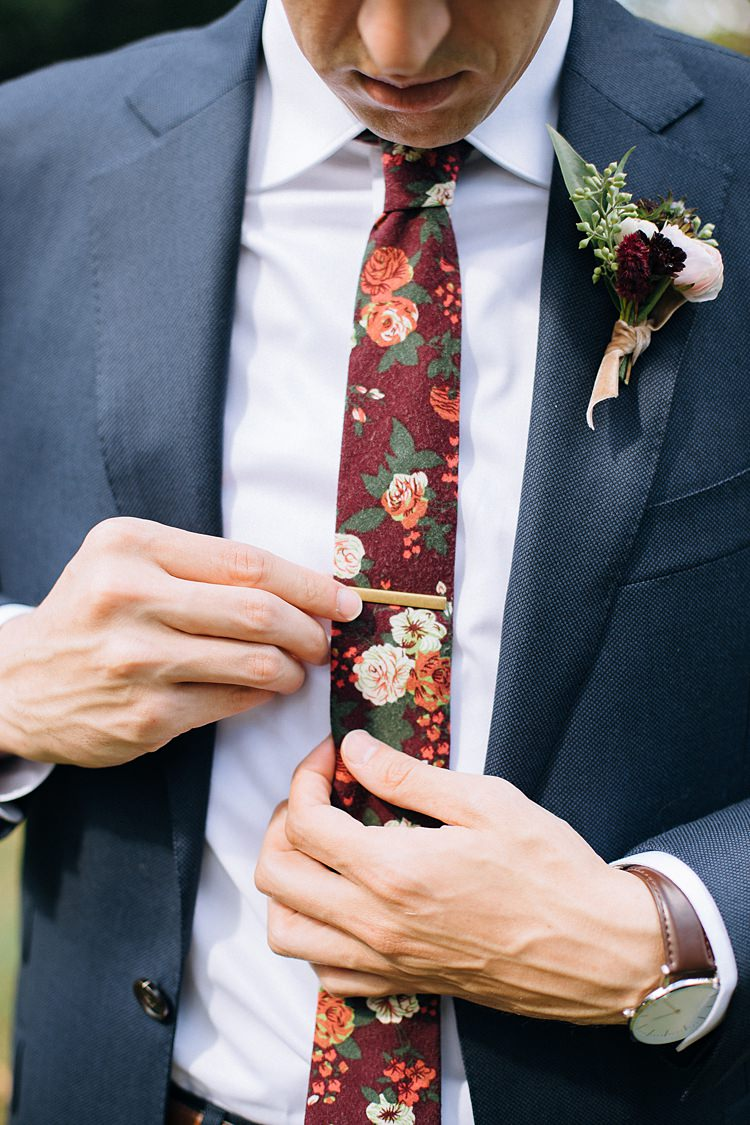 Groom Floral Tie Bohemian Outdoor Greenery Wedding Georgia http://www.sowingclover.com/