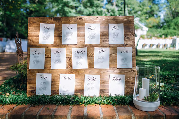 Table Seating Plan Wood Bohemian Outdoor Greenery Wedding Georgia http://www.sowingclover.com/