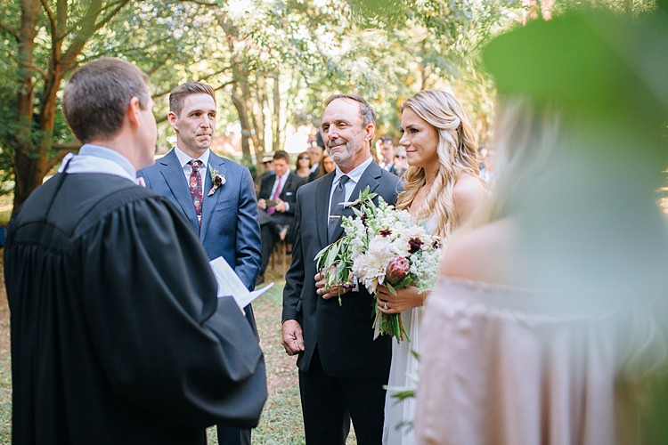 Ceremony Bride Father Groom Bohemian Outdoor Greenery Wedding Georgia http://www.sowingclover.com/