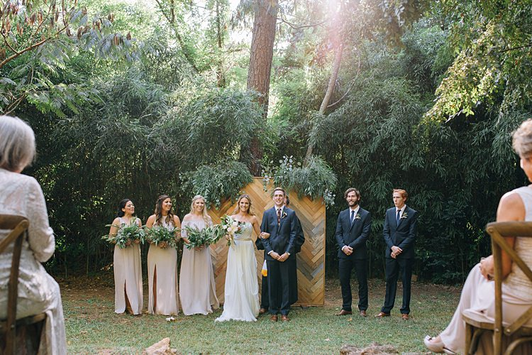 Bridal Party Ceremony Bohemian Outdoor Greenery Wedding Georgia http://www.sowingclover.com/