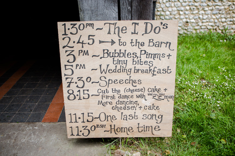 Wooden DIY Handmade Sign Board Timings Order Of Day Pretty Relaxed Lavender Country Wedding http://www.lydiastampsphotography.com/