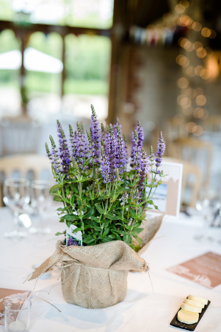 Lavender Pot Hessian Twine Table Centre Pretty Relaxed Lavender Country Wedding http://www.lydiastampsphotography.com/