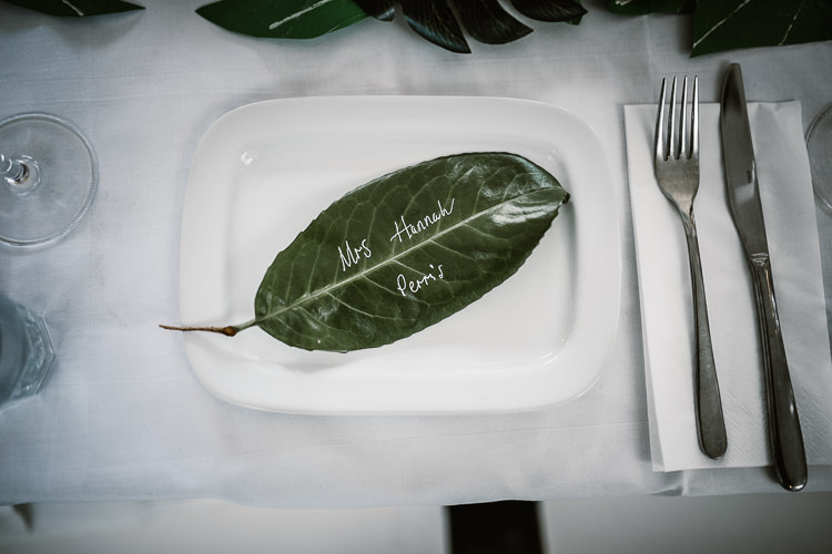 Tropical Leaf Place Name Setting Laid Back Local London Lido Wedding http://andrewbrannanphotography.co.uk/