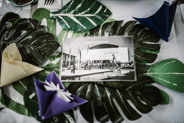 Tropical Leaf Leaves Decor Table Laid Back Local London Lido Wedding http://andrewbrannanphotography.co.uk/