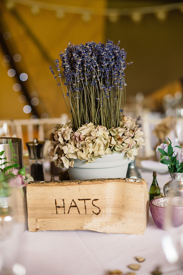 Lavender Hydrangea Pot Plants Decor Table Charming Natural Countryside Tipi Wedding http://www.pauljosephphotography.co.uk/