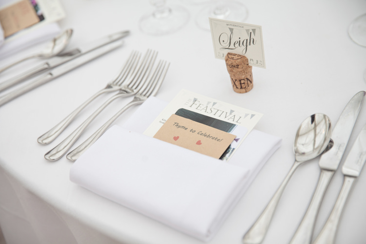 Place Setting Stationery Cork Place Name Bunting Summer Festival Country Estate Wedding http://kerryannduffy.com/