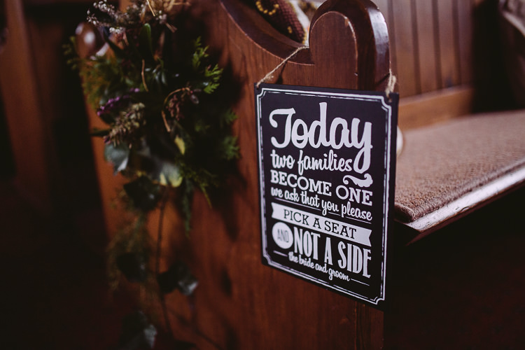 Ceremony Sign Seating Simple Cosy Country Winter Wedding http://hayleybaxterphotography.com/