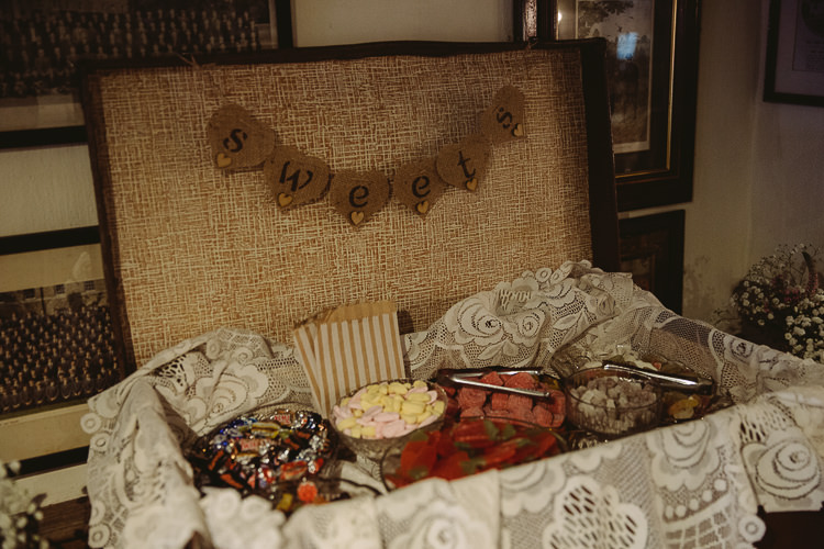 Suitcase Sweet Table Simple Cosy Country Winter Wedding http://hayleybaxterphotography.com/