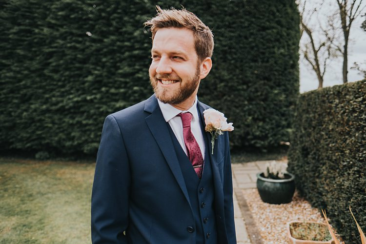 Navy Suit Tie Groom Burgundy Blush Minimal Elegant Barn Wedding http://www.rosshurley.com/