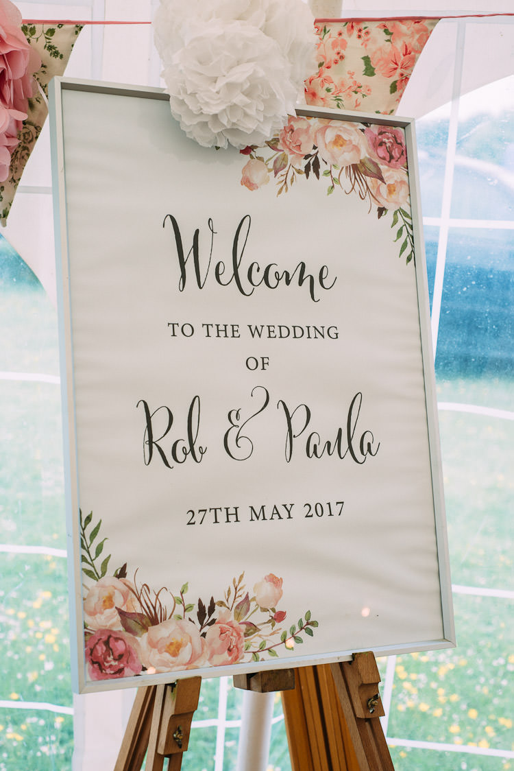 Welcome Sign Easel Floral Paper Pom Pom Bunting Pink Fun Laid Back DIY Rustic Marquee Wedding http://www.louisegriffinphotography.com/