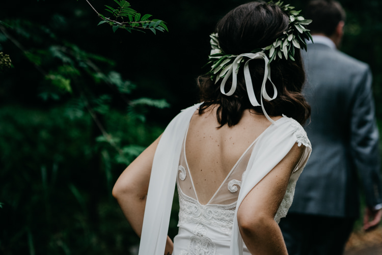 Olive Leaf Leaves Flower Crown Bride Bridal Ribbon Boho Fun Loving University Wedding http://andrewbrannanphotography.co.uk/