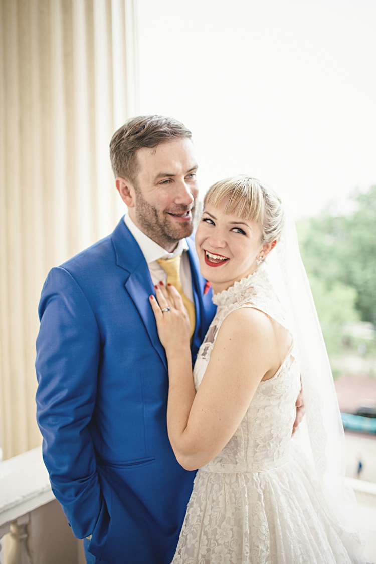 Fringe Bride Hair Up Do Style Colourful Home Made Vintage City Wedding http://kat-hill.com/
