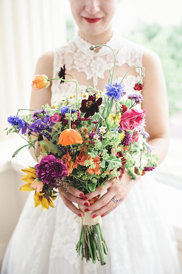 Bouquet Flowers Wild Seasonal Organic Rainbow Colourful Home Made Vintage City Wedding http://kat-hill.com/