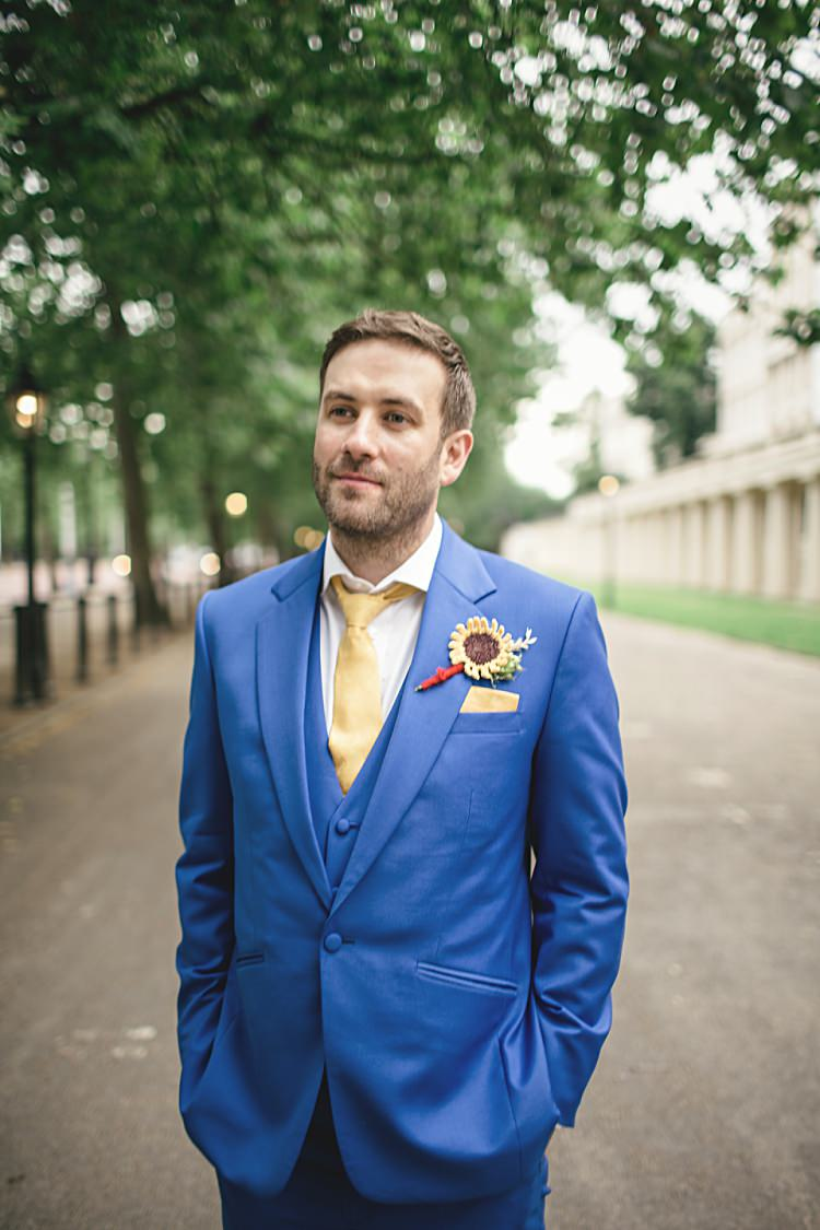 Blue Suit Groom Yellow Tie Accessories Style Attire Colourful Home Made Vintage City Wedding http://kat-hill.com/