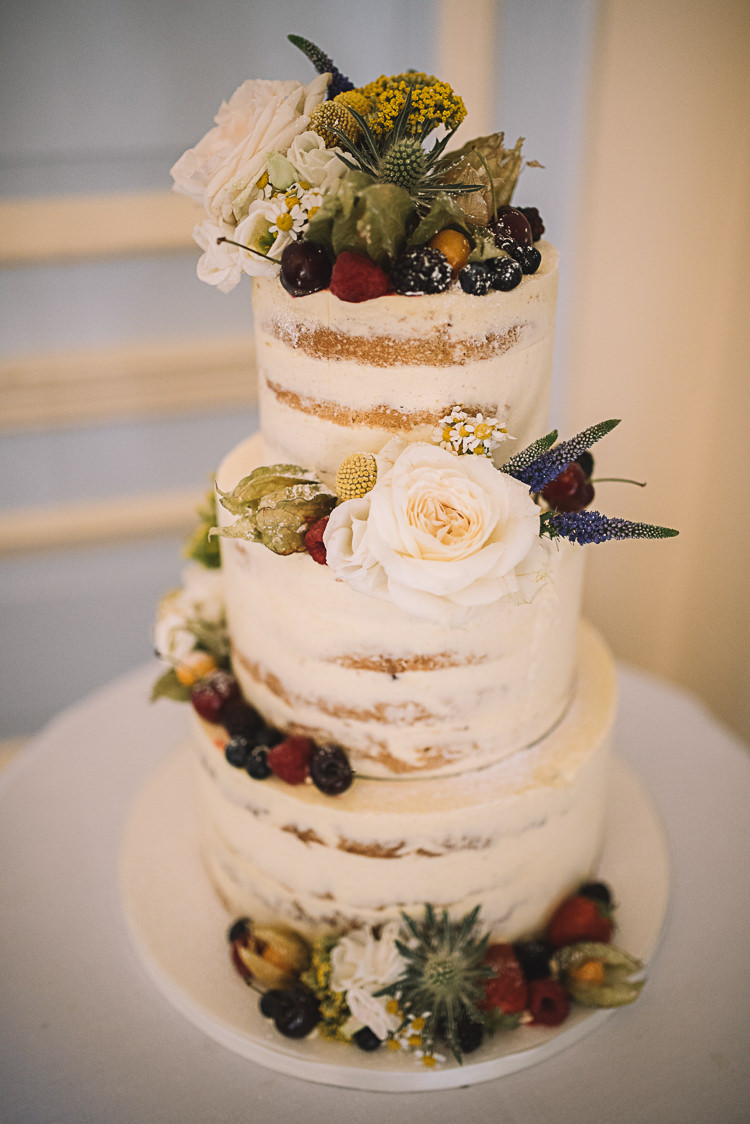 Naked Buttercream Cake Fruit Flowers Rustic Boho Summer Tipi Wedding https://www.luciewatsonphotography.com/
