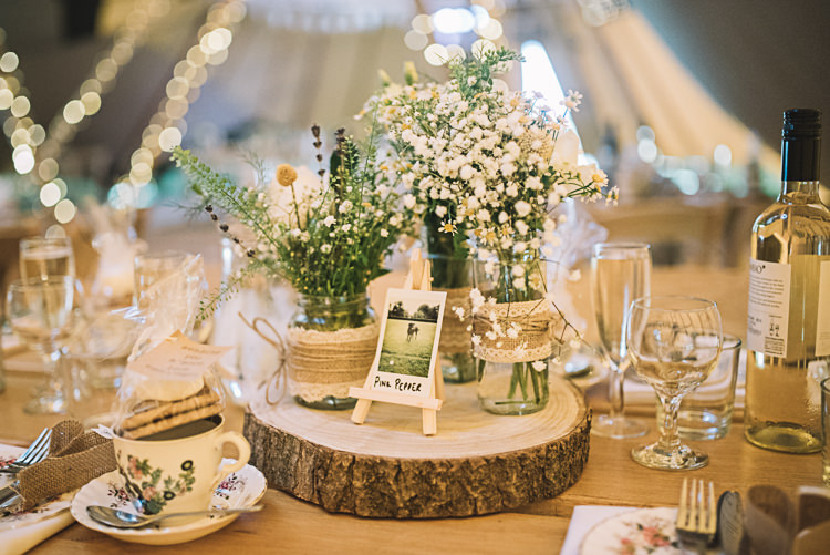 Centrepiece Flowers Log Table Decor Jar Hessian Lace Baby Breath Lavender Rustic Boho Summer Tipi Wedding https://www.luciewatsonphotography.com/