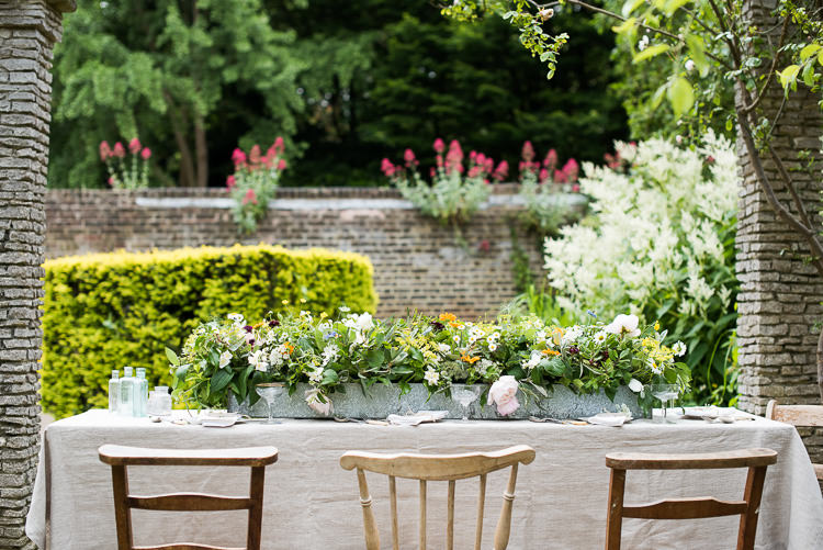 Mismatched Wooden Chairs Galvanised Metal Steel Trough Flowers Table Setting Pretty Urban Nature Wedding Ideas http://www.fionasweddingphotography.co.uk/