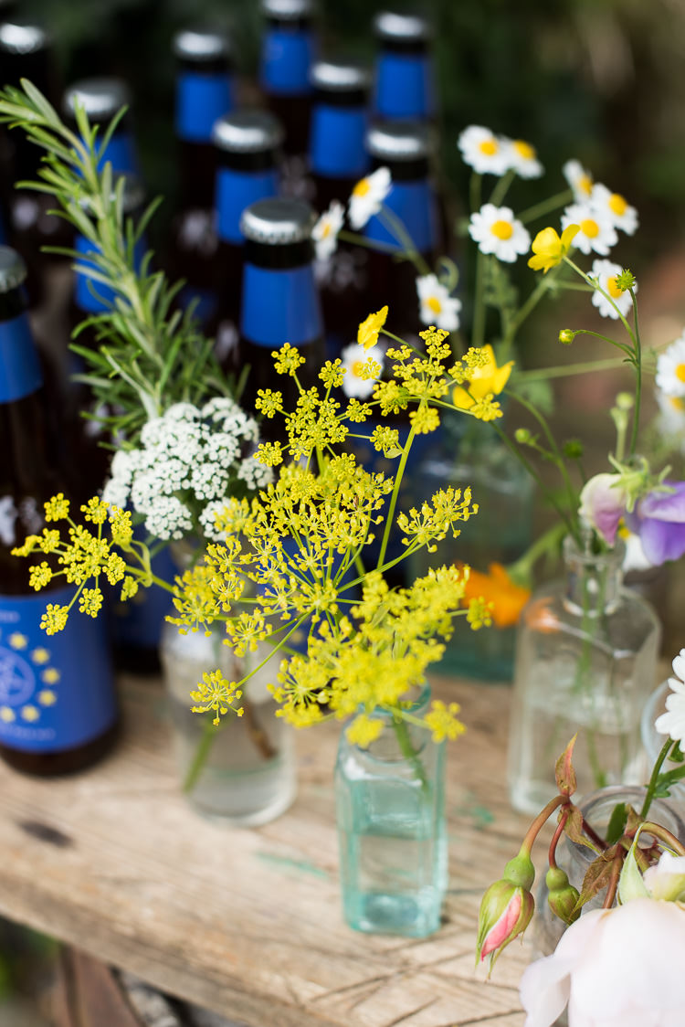 Apothecary Bottles Gypsophila Daisy Rosemary Yellow Cow Parsley Pretty Urban Nature Wedding Ideas http://www.fionasweddingphotography.co.uk/