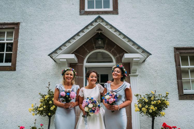 Grey Bridesmaid Dresses Flower Crowns Enchanting Cornflower Blue Marquee Wedding https://burfly.co.uk/