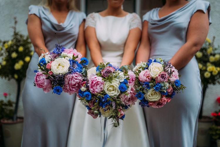 Pink Flowers Bouquet Bride Bridal Bridesmaids Peony Rose Enchanting Cornflower Blue Marquee Wedding https://burfly.co.uk/