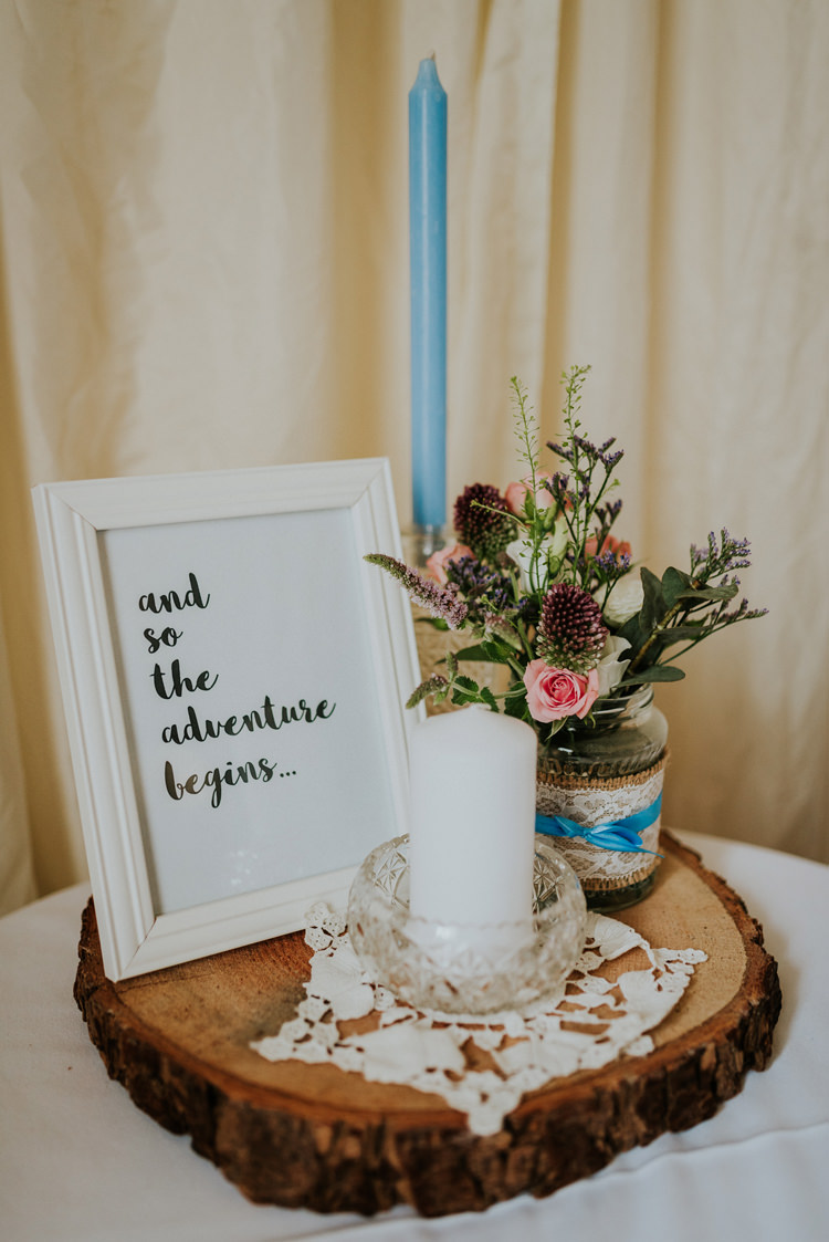 Love Quote Frame Log Flowers Jars Candles Decor Enchanting Cornflower Blue Marquee Wedding https://burfly.co.uk/