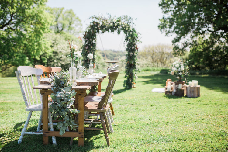 Rustic Wooden Mismatch Furniture Table Chairs Tablescape Bohemian Garden Greenery Wedding Ideas http://www.storytellerphotography.co.uk/
