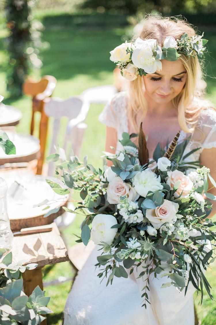 Foliage Flowers Roses Bouquet Pink Cream Feather Bride Bridal Crown Bohemian Garden Greenery Wedding Ideas http://www.storytellerphotography.co.uk/