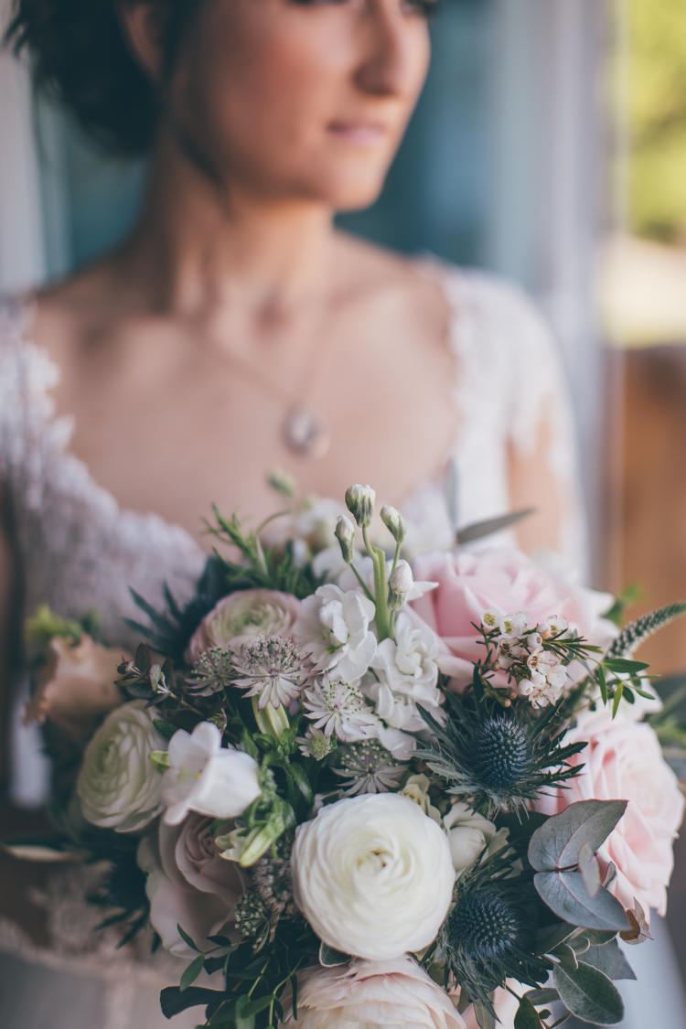 Bouquet Flowers Bride Bridal Rose Thistle Ranunculus Pretty Pale Pink Scenic Coast Wedding http://rachellambertphotography.co.uk/