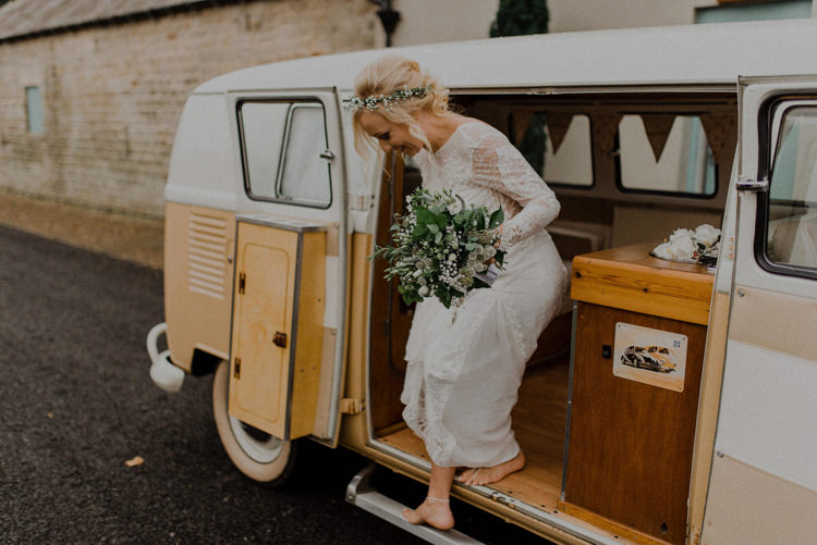 Campervan Transport Dreamy Natural Boho Barn Wedding https://heychrisrandle.com/