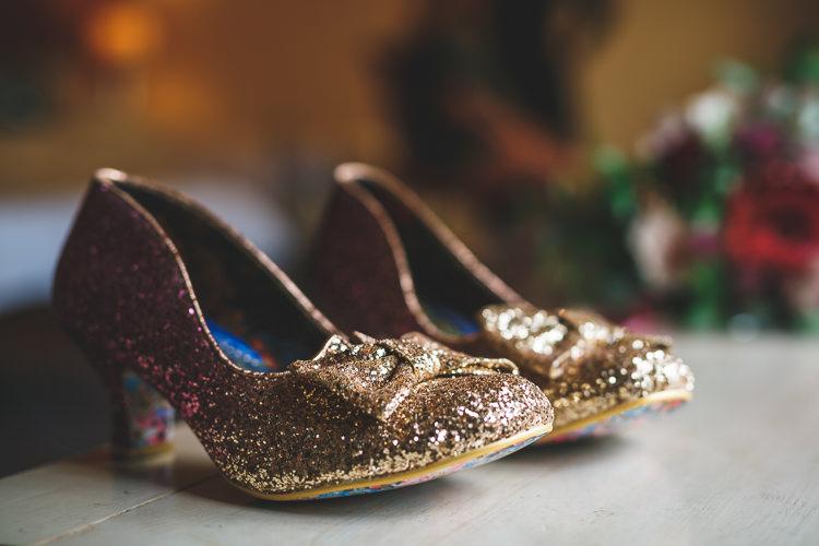 Gold Sparkly Glitter Court Shoes Bride Bridal Irregular Choice Rustic Barn Red Gold Glam Wedding https://garethnewsteadphotography.com/