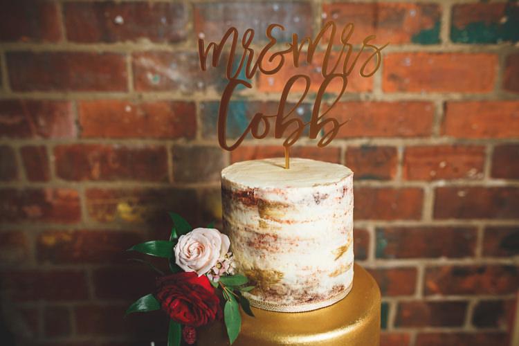 Buttercream Cake Naked Rose Gold Laser Cut Topper Rustic Barn Red Gold Glam Wedding https://garethnewsteadphotography.com/