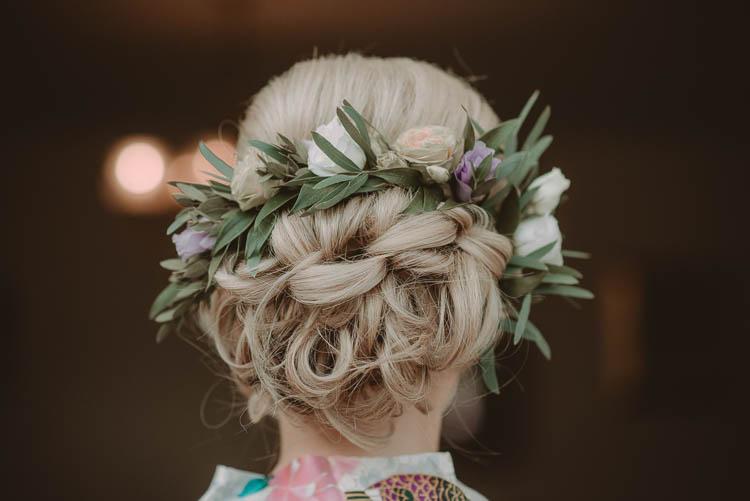 Bride Bridal Hair Up Do Style Flowers Whimsical Modern Rustic Barn Wedding http://photomagician.co.uk/