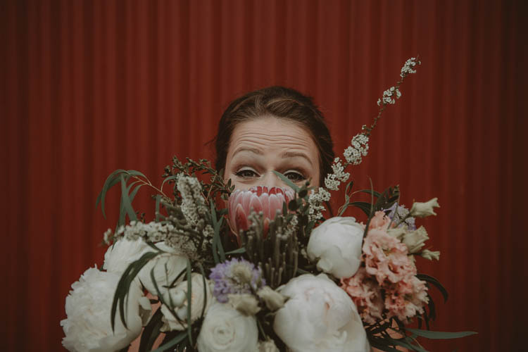 Bouquet Flowers King Protea Peony Bridesmaid Whimsical Modern Rustic Barn Wedding http://photomagician.co.uk/