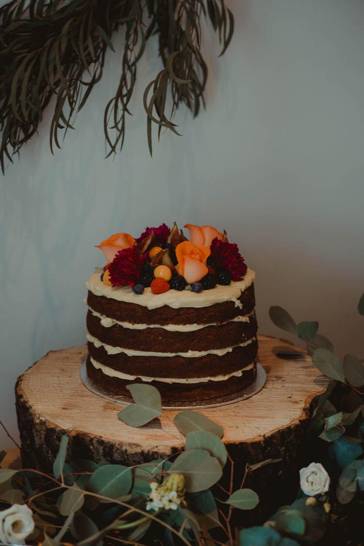Naked Chocolate Cake Flowers Sponge Layer Log Stand Whimsical Modern Rustic Barn Wedding http://photomagician.co.uk/