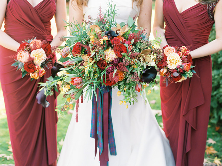 Autumn Inspiration Red Yellow Bouquet Ribbon Jewel Tones http://www.samrileyphotography.co.uk/