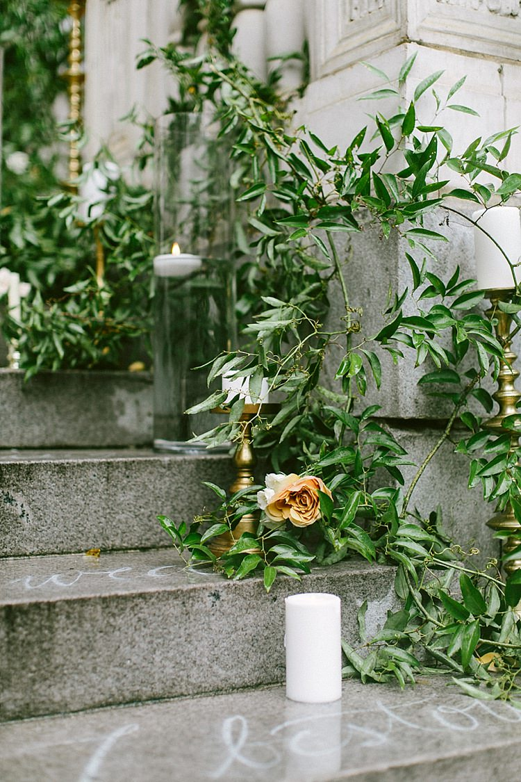 Aisle Steps Stone Writing Quotes Roses Greenery Candles Gold Modern Elegance Marble Greenery Gold Wedding Ideas http://www.jettwalkerphotography.com/