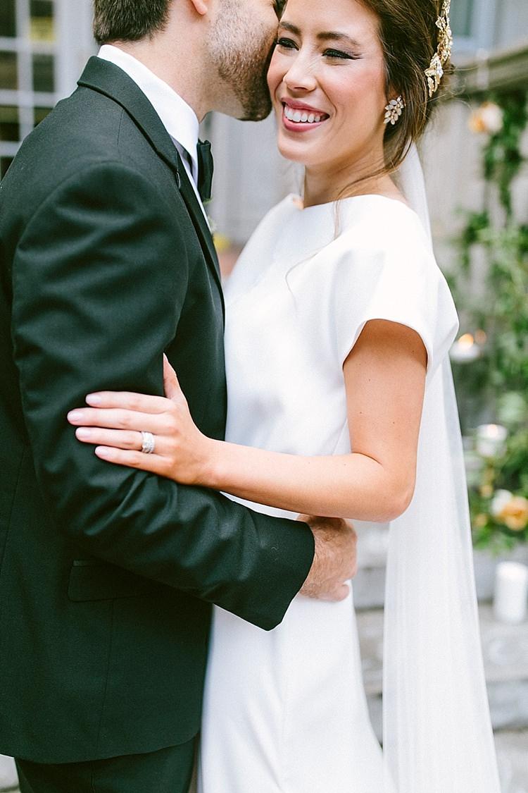 Bride Short Sleeve Plain Dress Engagement Ring Diamonds Gold Tiara Headpiece Long Veil Groom Black Tie Modern Elegance Marble Greenery Gold Wedding Ideas http://www.jettwalkerphotography.com/