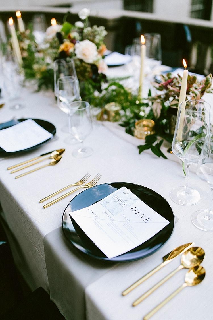 Place Settings Table Candles Cutlery Menus Glassware Modern Elegance Marble Greenery Gold Wedding Ideas http://www.jettwalkerphotography.com/