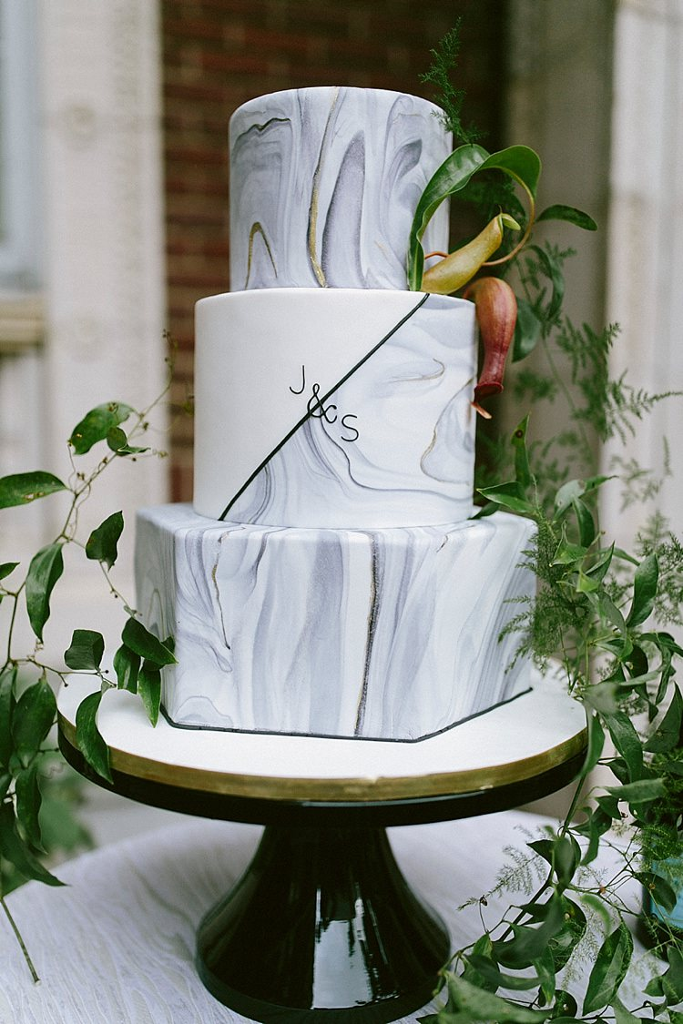 Cake Hexagonal Marble Black White Greenery Initials Modern Elegance Marble Greenery Gold Wedding Ideas http://www.jettwalkerphotography.com/