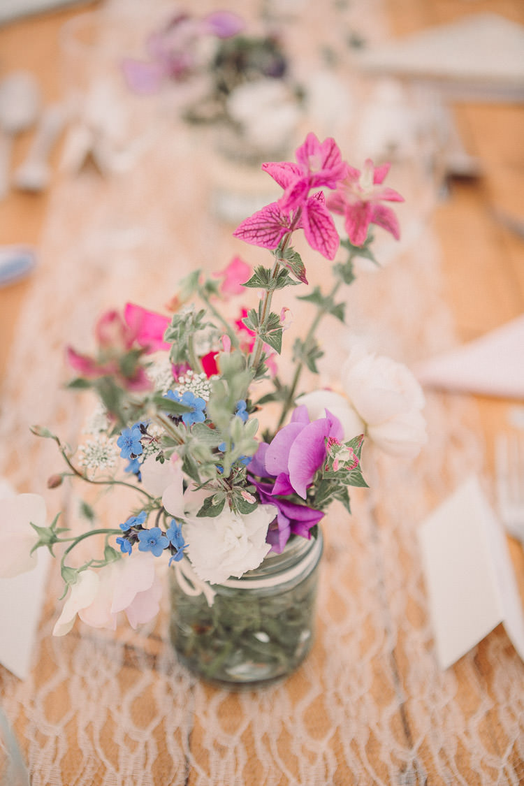 Rustic Tables Setting Wooden Wildflowers Jam Jars Lace Runner Relaxed Outdoor Marquee Farm Wedding http://www.jenniferjanephotography.co.uk/