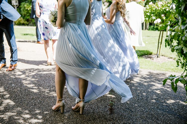Grey Long Pleated Bridesmaid Dresses Graceful Country Cottage Garden Wedding https://katherineashdown.co.uk/