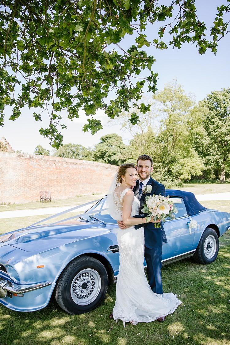 Classic Car Blue Convertable Graceful Country Cottage Garden Wedding https://katherineashdown.co.uk/